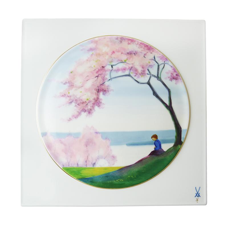 マイセン (Meissen) 陶画 No.549 桜咲く川辺の少女 933284