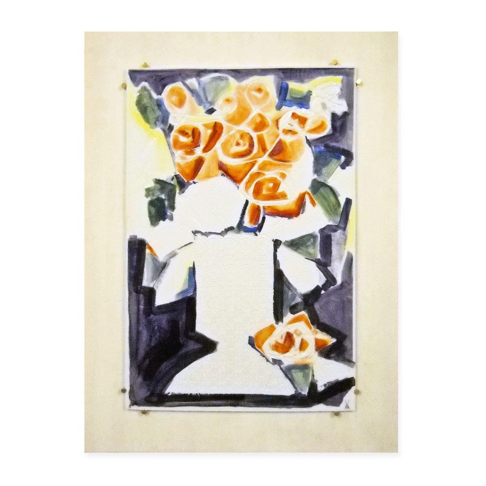 マイセン (Meissen) 陶板画 ウニカート 赤いバラのある花瓶 #018/98 1998年作 証明書付