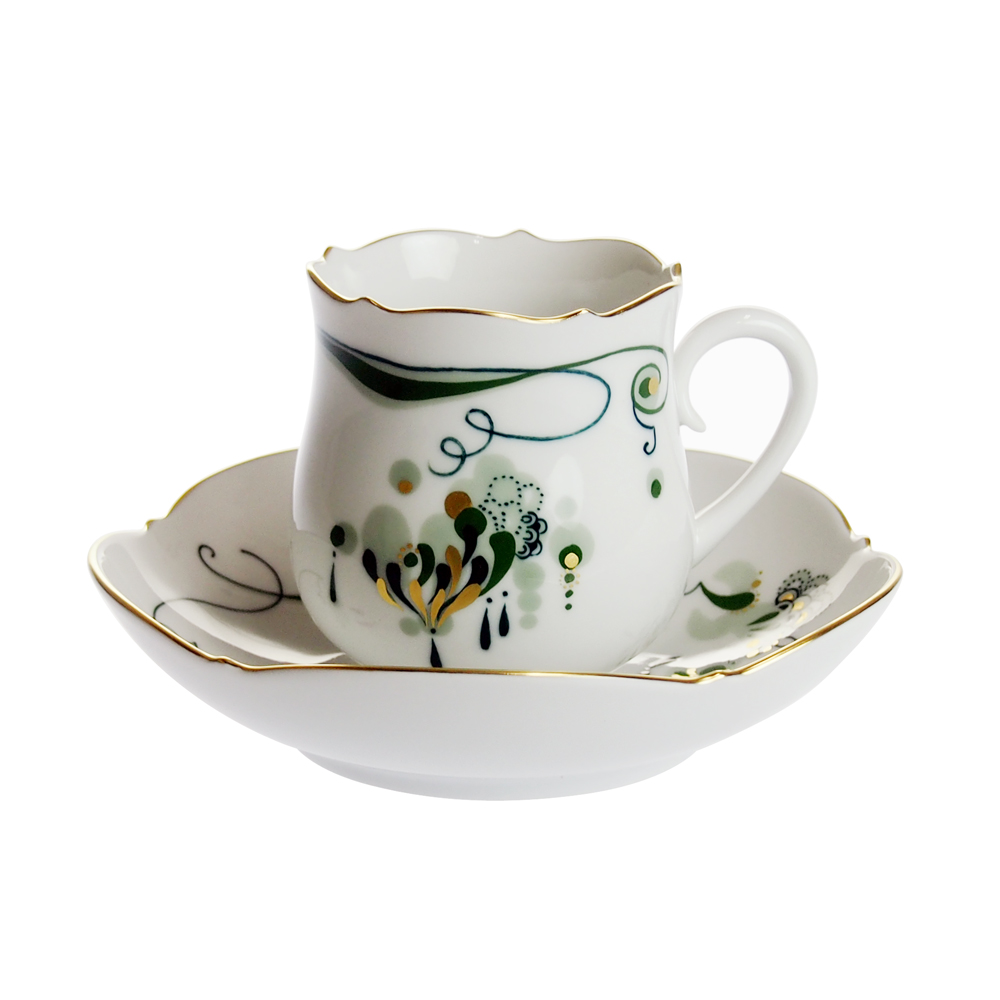 マイセン (Meissen) エメラルド コーヒーカップ&ソーサー 23582