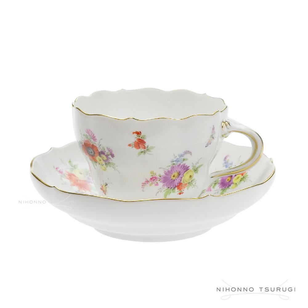マイセン (Meissen) スキャタードブーケ コーヒーカップ&ソーサー 582