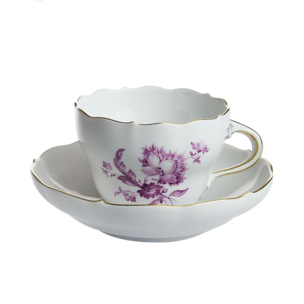 マイセン (Meissen) パープル 2つ花 コーヒーカップ&ソーサー 150410