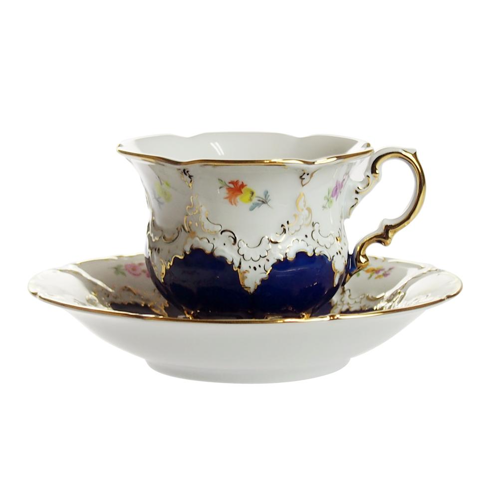 マイセン (Meissen) 金彩小花 ロイヤルブルー コーヒーカップ&ソーサー 11098/1558