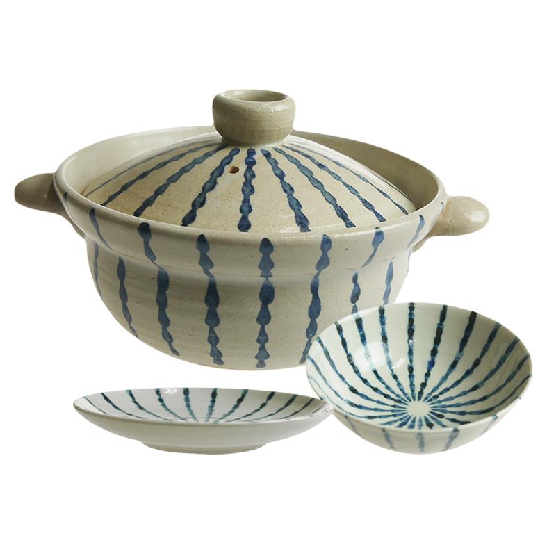 【送料無料祭】陶房ななかまど 贅沢一人鍋 とくさ紋鍋3点セット