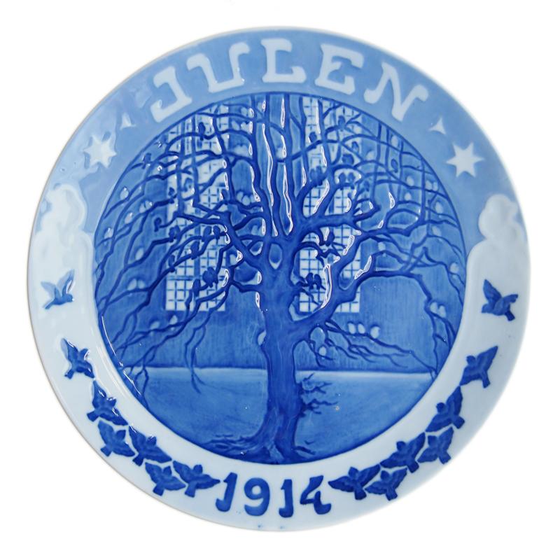ロイヤルコペンハーゲン イヤープレート 1914年 教会の木にとまる雀達【あす楽対応】