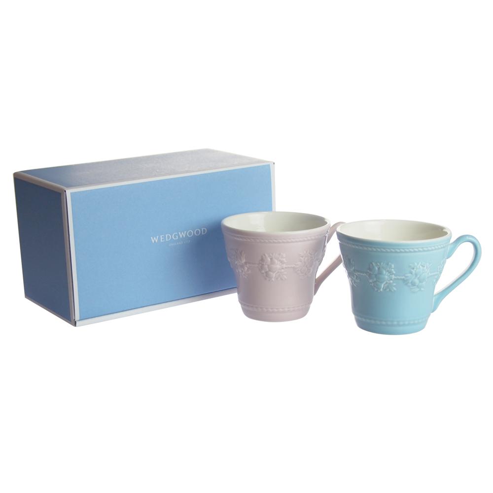 ウェッジウッド (WEDGWOOD) フェスティビティ ブルー&ピンク マグカップ 300ml ペアセット【ブランドBOX付き】