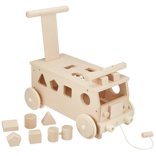 森のパズルバス MOCCO 乗用玩具 木のおもちゃ 安心の日本製 木製玩具 バス型乗り物 手押し車 木のパズル