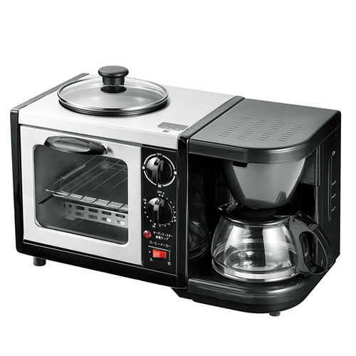 《200円クーポン配布》 モーニングトリオ MT-3 ガラス蓋付き 1台3役 コーヒー トースト 目玉焼き オーブントースター コーヒーメーカー トースターパン焼き器