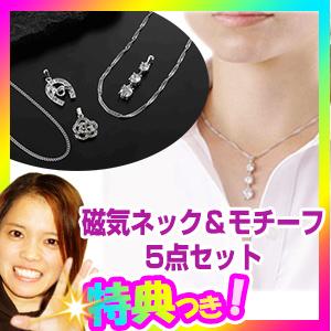 磁気ネック&モチーフ5点セット 90ミリテスラの永久磁石 磁気ネックレス2点+ペンダントトップ3点 磁力ネックレス 医療機器