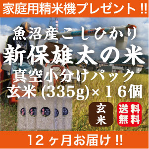 精米機プレゼント!!魚沼産コシヒカリ(玄米)を年間契約で精米機プレゼント!!2合入×16個を12回発送します。【新潟】【魚沼産】【コシヒカリ】