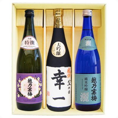 名入れ 日本酒 越乃寒梅 灑 純米吟醸 特撰吟醸 越路吹雪大吟醸 名前入れ720ml×3本ギフトセット送料無料 世界で一つだけの贈り物! 令和