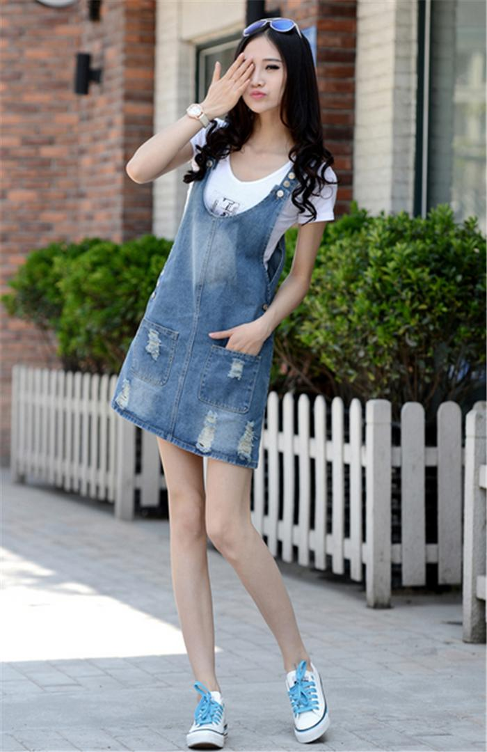 4651d05ac8b Great size for overalls jeans-denim denim one piece overalls all-in-one  jumper skirt tie s Korean Edition with Pocket half length sleeveless ladies    girls ...