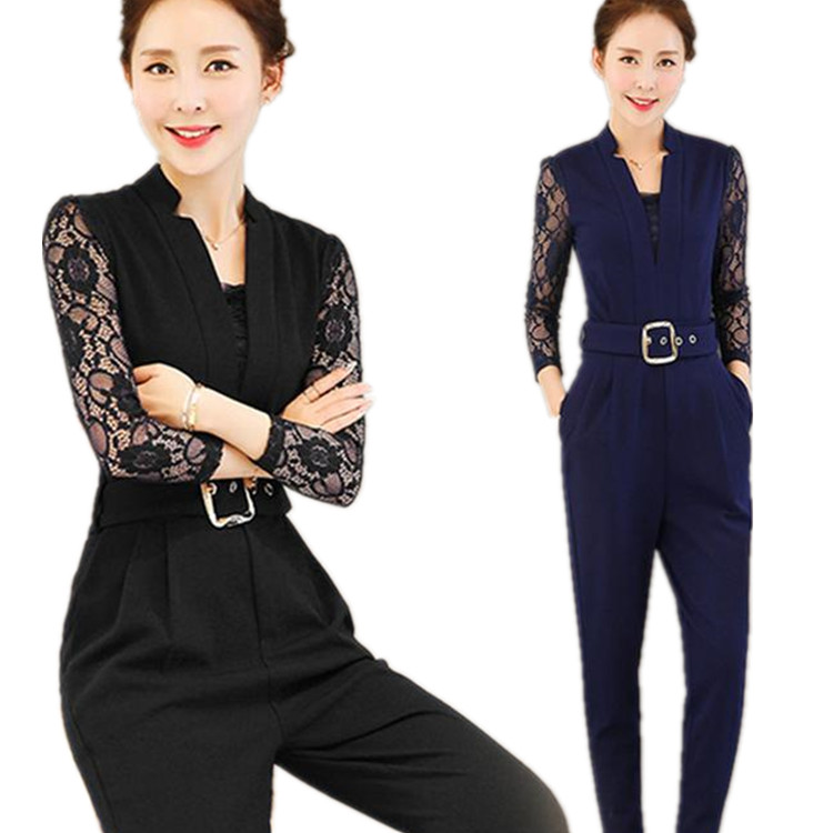 1dce8b1abd90 All-in-one formal OL overalls pants long pants rompers invited party  wedding parties salopette skirts long sleeve race commuter blue black Office
