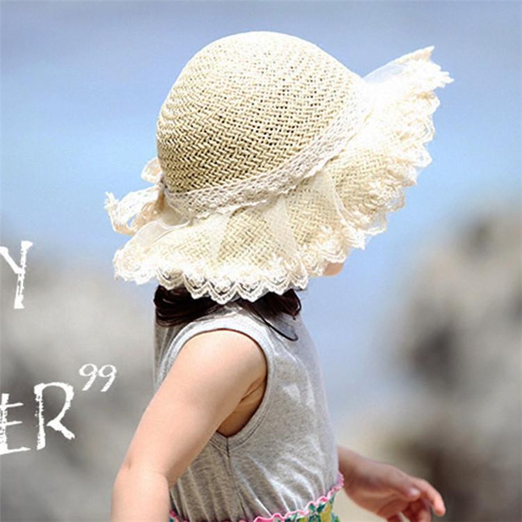 麦わら帽子 子供 帽子 キッズ ストローハット レース 5☆大好評 子供用 女の子 麦わらハット 夏 紫外線ケア UVケア UV対策 好評 紫外線対策 UV帽子 ハット メール便対応 日焼け止め UV