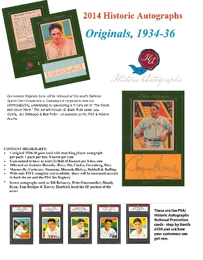 2014 HISTORIC AUTOGRAPHS ORIGINALS 1934-36