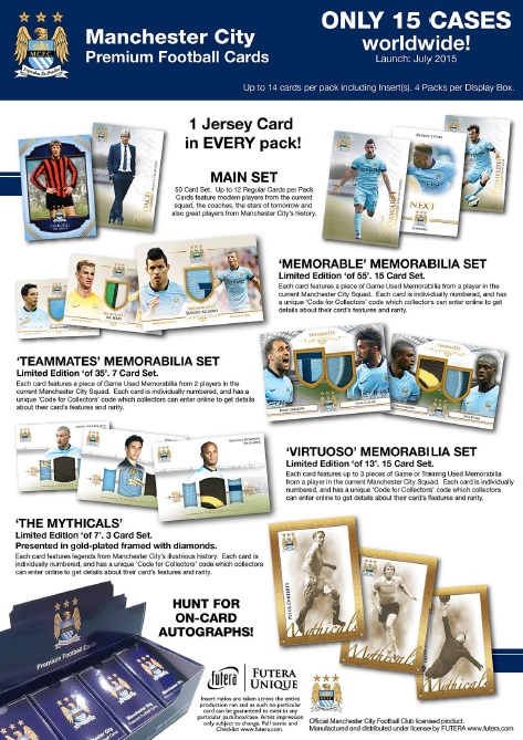 2015 FUTERA UNIQUE MANCHESTER CITY FOOTBALL CARD BOX (送料無料)