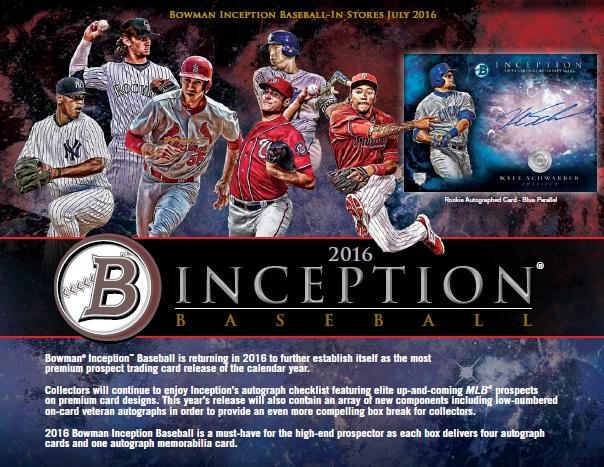 MLB 2016 BOWMAN INCEPTION BASEBALL BOX (送料無料)