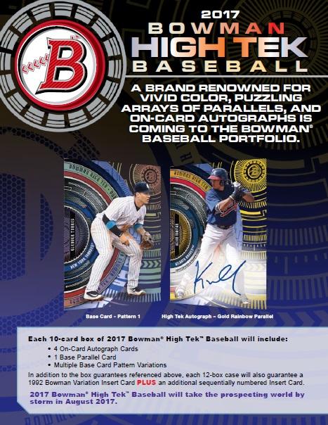 MLB 2017 BOWMAN HIGH TEK BASEBALL
