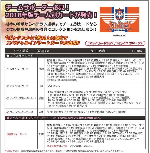 高価値 2018 Jリーグ カード チームエディション メモラビリア BOX 送料無料 7月29日発売 情熱セール アルビレックス新潟