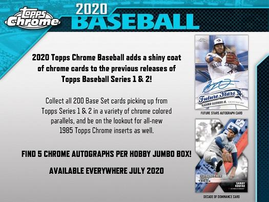 MLB 2020 TOPPS CHROME BASEBALL JUMBO BOX (送料無料) 8月7日入荷