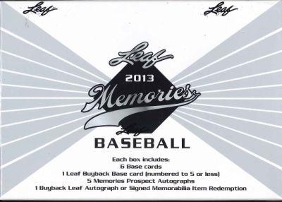 2013 LEAF MEMORIES BASEBALL BOX