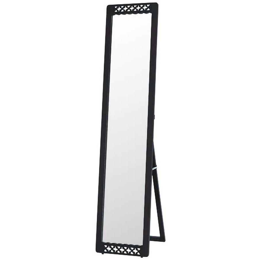 鏡 ミラー おしゃれ 全身 姿見 玄関 北欧 リビング 洗面 トイレ 寝室 インテリア スタンド シンプル ハートとクローバーのかわいいモチーフ フェミニン ホワイト ブラック 白 白色 黒 黒色