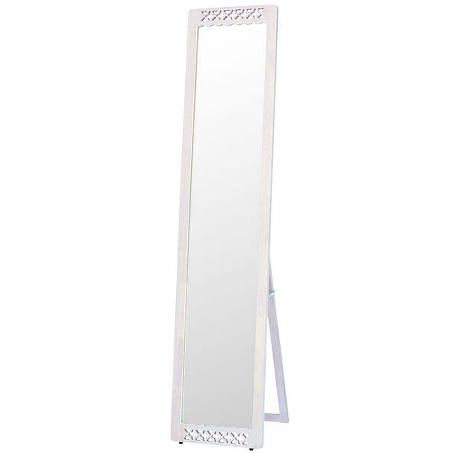 鏡 ミラー 姿見 全身 おしゃれ オシャレ 玄関 北欧 リビング 洗面 トイレ 寝室 インテリア スタンド シンプル ハートとクローバーのかわいいモチーフ フェミニン ホワイト 白 白色