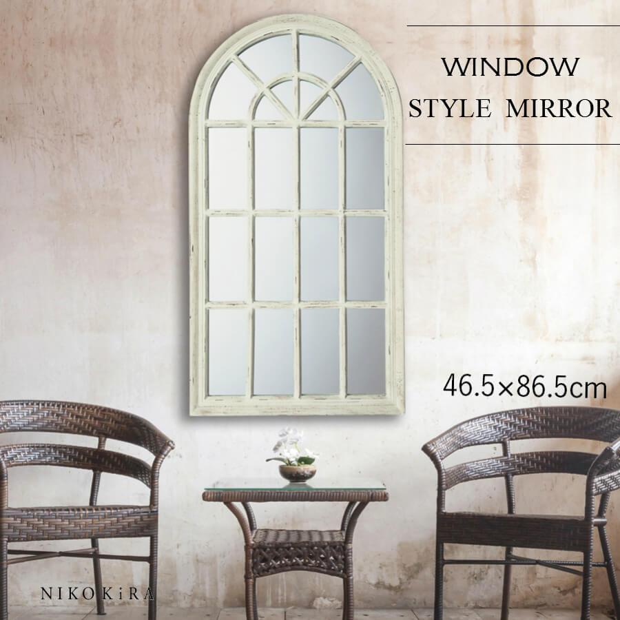 鏡 壁掛け 北欧 おしゃれ フレンチ 86.5cm かわいい 窓 ミラー アンティーク ウォール ミラー ウインドウ 格子 大きい鏡 大きい 大きな 特大 ビッグミラー サロン リビング ショップ ディスプレイ クラシカル ホワイト 白 ウィンドウ スタイル ミラー