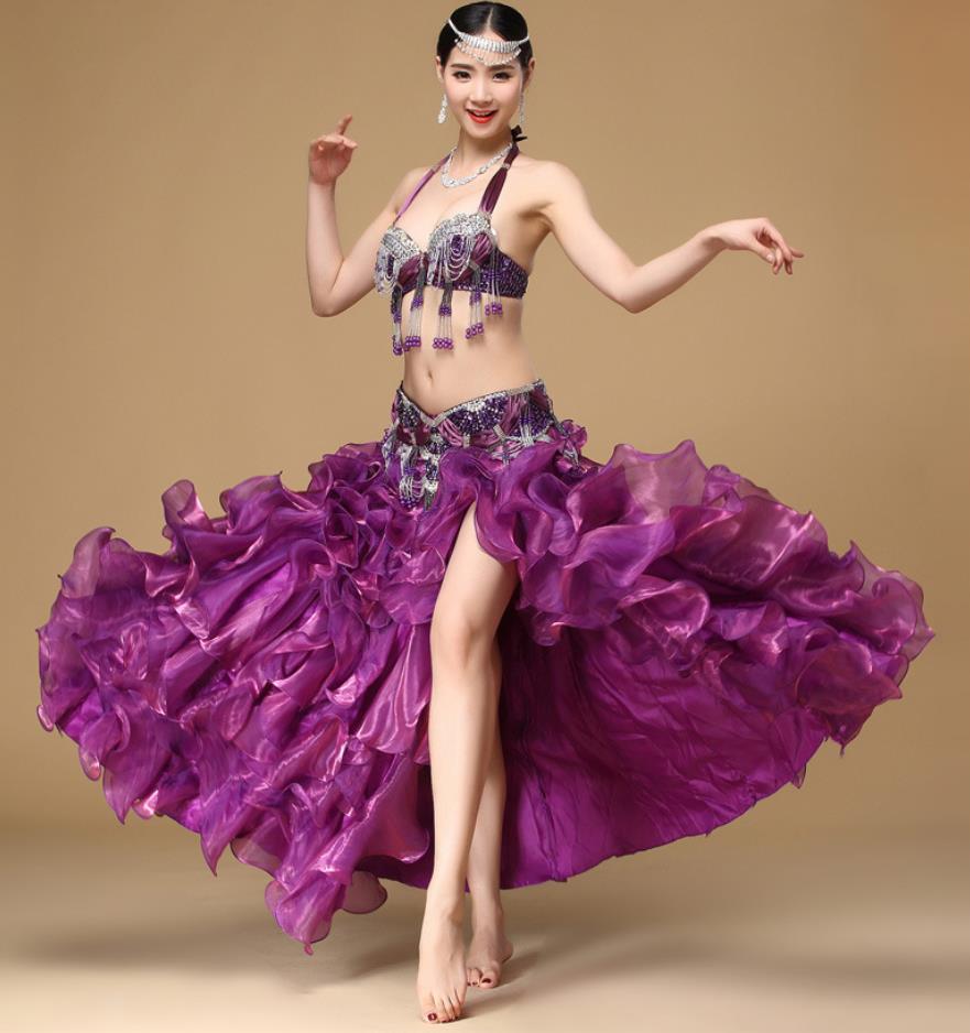 ベリーダンス衣装 3点セット いつでも送料無料 スパンコール コスチューム レディース 演出 お洒落 社交ダンス 大人気 ストレッチ 高級感 ダンス服