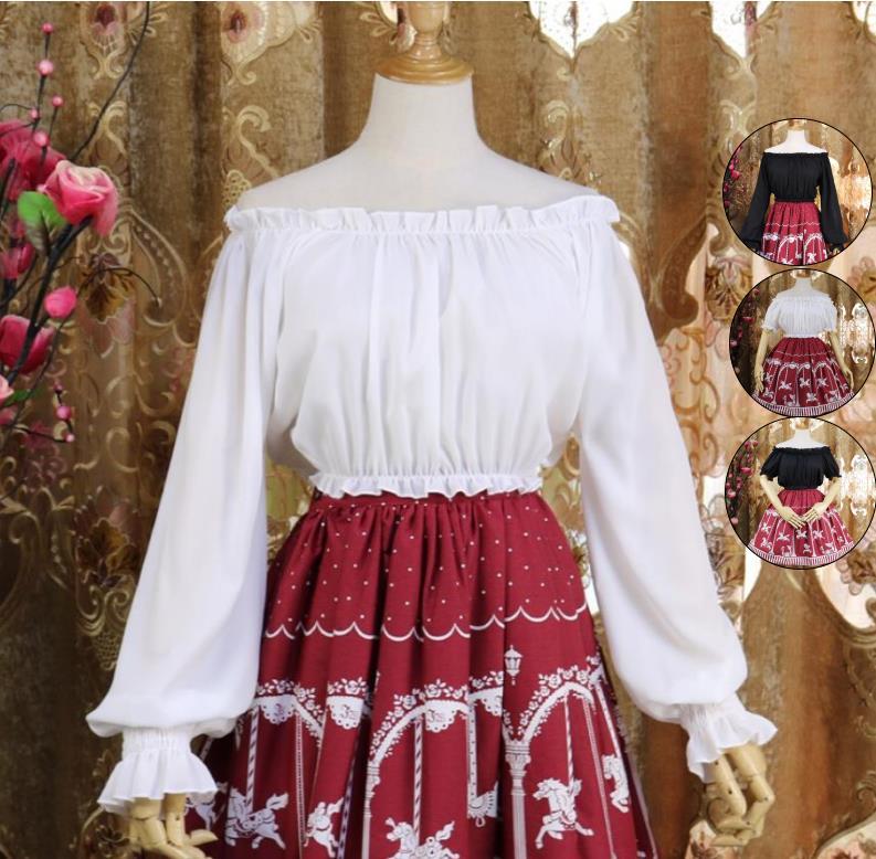 シャツ ブラウス 人気急上昇 コスプレ メイド服 コスチューム 衣装 Lolita 文化祭 ゴスロリ 中袖 ホワイト 長袖 学園祭 ブラック 丸首 レディース お気に入り