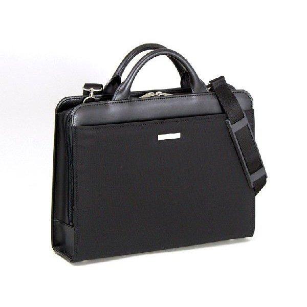 ビジネスバッグ メンズ ビジネスバック ブリーフケース B4 A4 2way 出張 ショルダーベルト付き 軽量 黒 三方開き 日本製 #22122 h-lb22122
