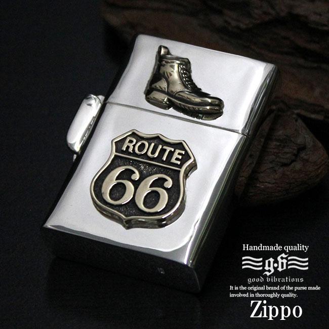 Zippoライター シルバー925 ルート66 ブーツ 靴 ブラス装飾 シルバー製デザインアーマーモデル【あす楽】zp012-sv