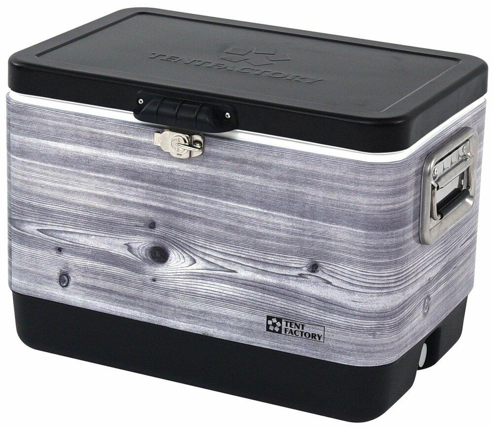 テントファクトリー クーラーボックス メタルクーラー スチールボックス L 51L ブラックウッド
