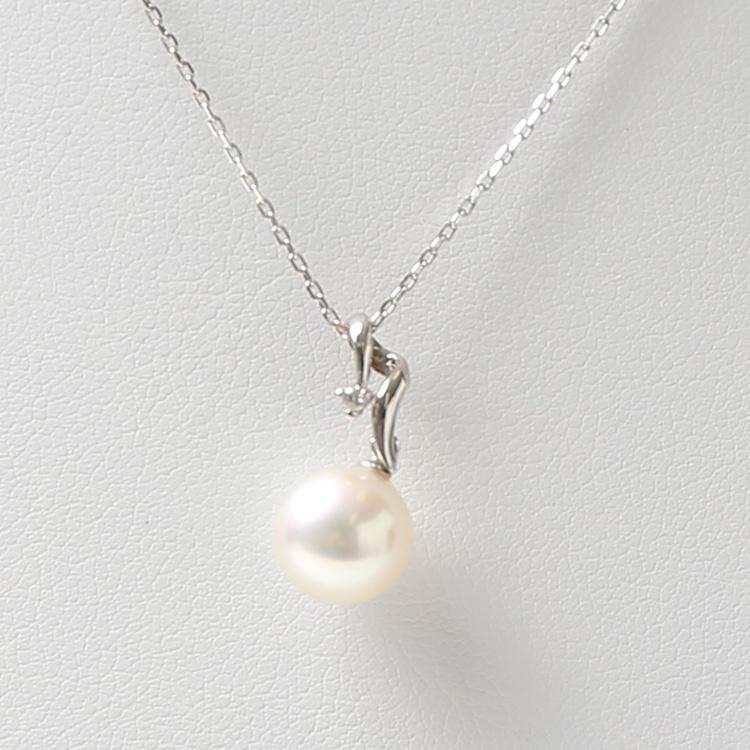 パールネックレス パール ネックレス 真珠 本真珠 長崎県産 ホワイトゴールド WG N85