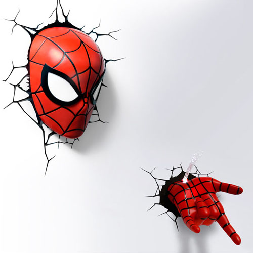 Spider Man 3D Deco Light Mask & Hand SET スパイダーマン 3Dデコライト マスク ハンド セット ひび割れステッカー ウォールライト LED 照明 壁ライト 立体 アメコミ MARVEL マーベル コードレス おしゃれ インテリア 雑貨 アベンジャーズ AVENGERS