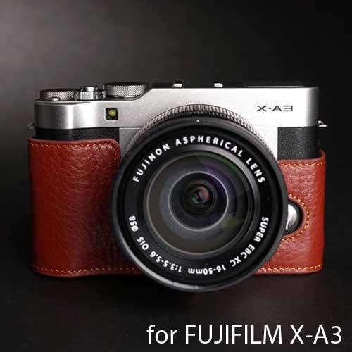 TP Original/ティーピー オリジナル Leather Camera Body Case レザーカメラボディケース for FUJIFILM X-A3 フジフイルム X-A3用 おしゃれ 本革 レザー カメラケース 速写ケース EZ Series Brown(ブラウン) 底面開閉 バッテリー交換可能