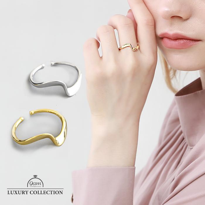 リング SILVER925 シンプル 指輪 ラッピング無料 18Kゴールド ニッケルフリー 年末年始大決算 ウェーブ レディース デイリー パーティー 上品 ギフト ジュエリー プレゼント アクセサリー 結婚式