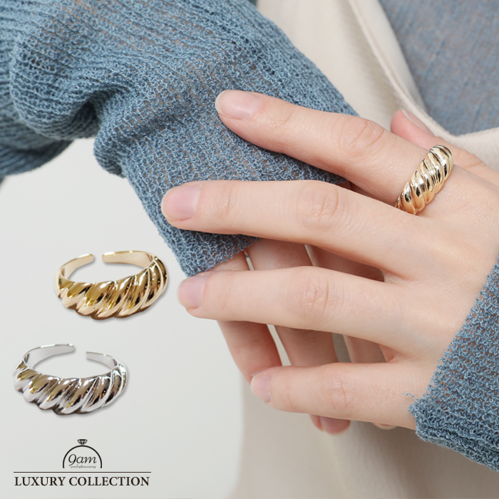 リング ひねり レディース 市販 上品 指輪 激安格安割引情報満載 ゴールド エレガント ニッケルフリー フォークリング シルバー