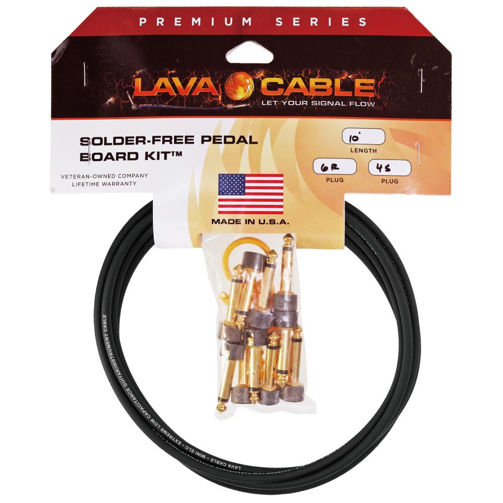 Lava Cable Solder-Free Kit Gold/Black Plug L字プラグ×6+ストレートプラグ×4セット 【ゆうパケット対応可能】 / はんだ不要!簡単に作れるパッチケーブルキット! ソルダーレス ソルダーフリー