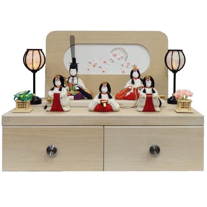 【木目込人形材料キット】【雛人形】【木目込み人形】【コンパクトな引出収納飾り】【五人揃】【布裂地・型紙付】宝徳雛五人揃い 収納平飾り