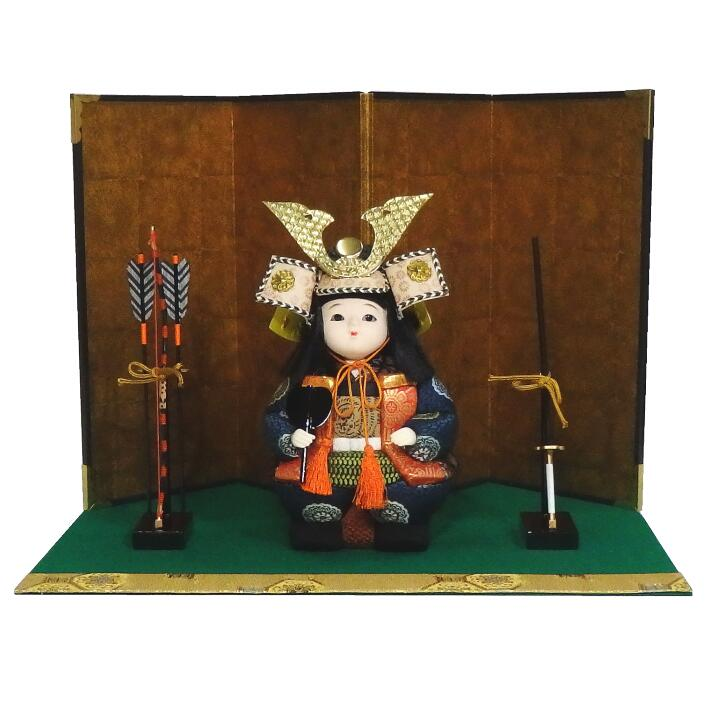 【木目込み人形】【木目込人形材料キット】【五月人形】豆武者金屏風飾り