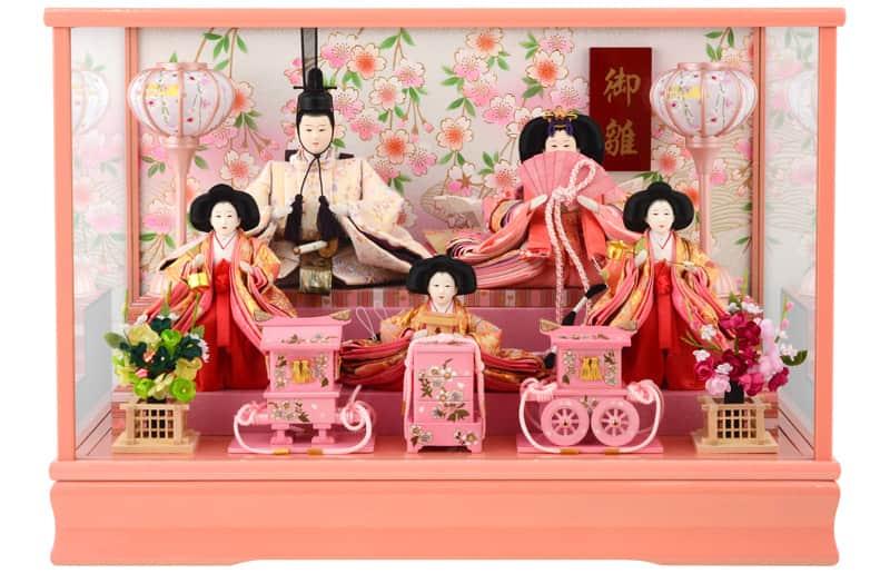 雛人形 特選 コンパクト ひな人形 雛 ケース飾り 五人飾り 御雛 芥子 木製道具 ピンク オルゴール付 【2020年度新作】 h283-ts-a10-p