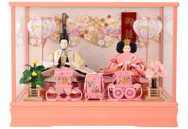 雛人形 特選 コンパクト ひな人形 雛 ケース飾り 親王飾り 御雛 芥子 木製道具 ピンク オルゴール付 【2020年度新作】 h283-ts-a9-p
