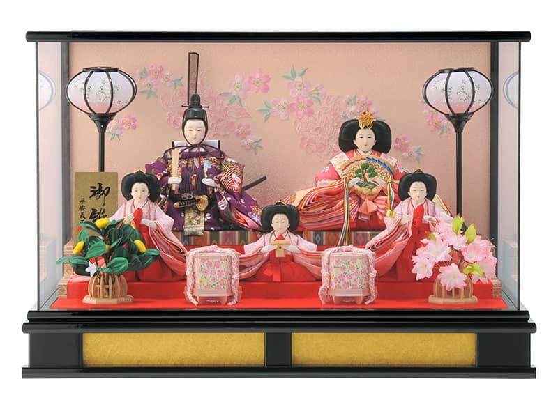 雛人形 特選 ひな人形 雛 ケース飾り 五人飾り 平安義正作 御雛 愛莉 【2020年度新作】 h263-moys-016