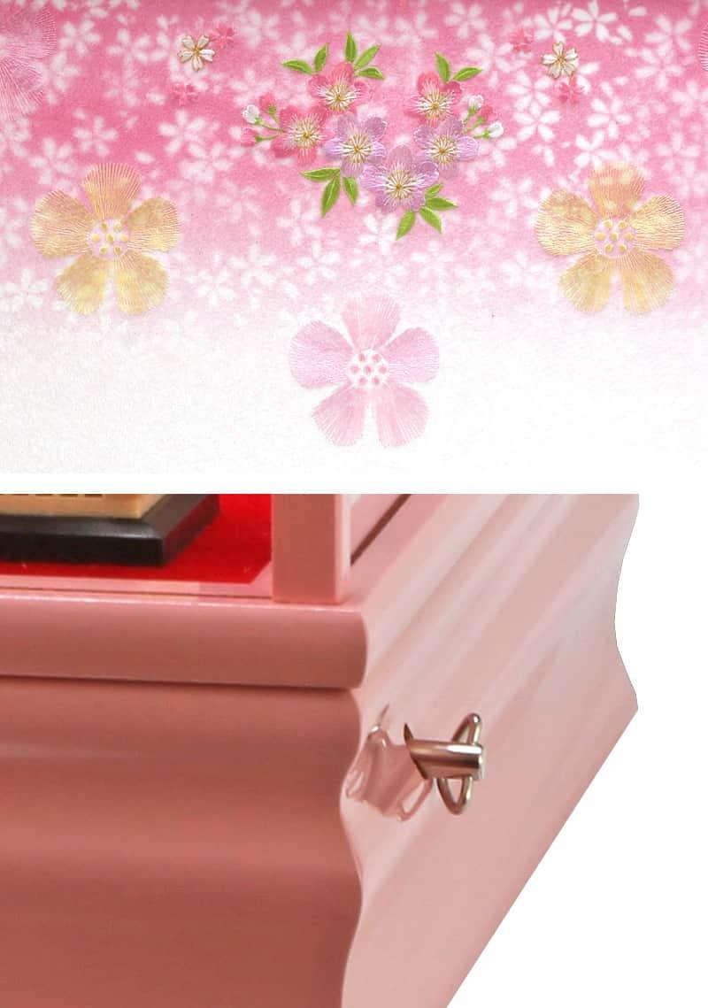 ケース飾り五人飾り御雛三五芥子オルゴール付【2018年度新作】【選べる2種類】