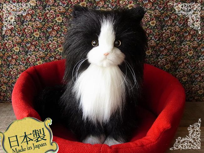【日本製!限定販売!】等身大のリアルなペルシャ猫(バイカラー)リアルな猫のぬいぐるみ【日本製】【N-NQ-C】【猫のぬいぐるみ】