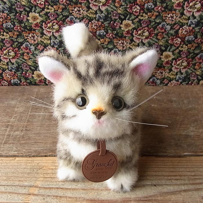 【こねこのミーヤ グレー 立ちver.】日本製リアルな猫のぬいぐるみ