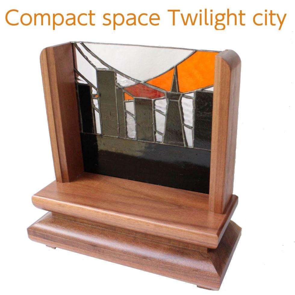オープン仏壇 トワイライトシティー ウォールナット材無垢 ステンドグラス