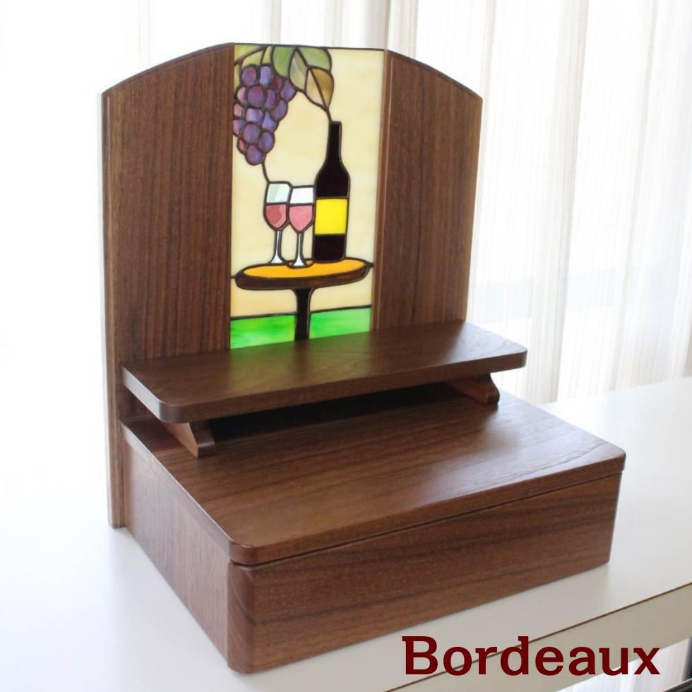 ボルドー ステンドグラス コンパクト仏壇 ウォールナット無垢 高さ37cm 幅33cm 奥行き24cm