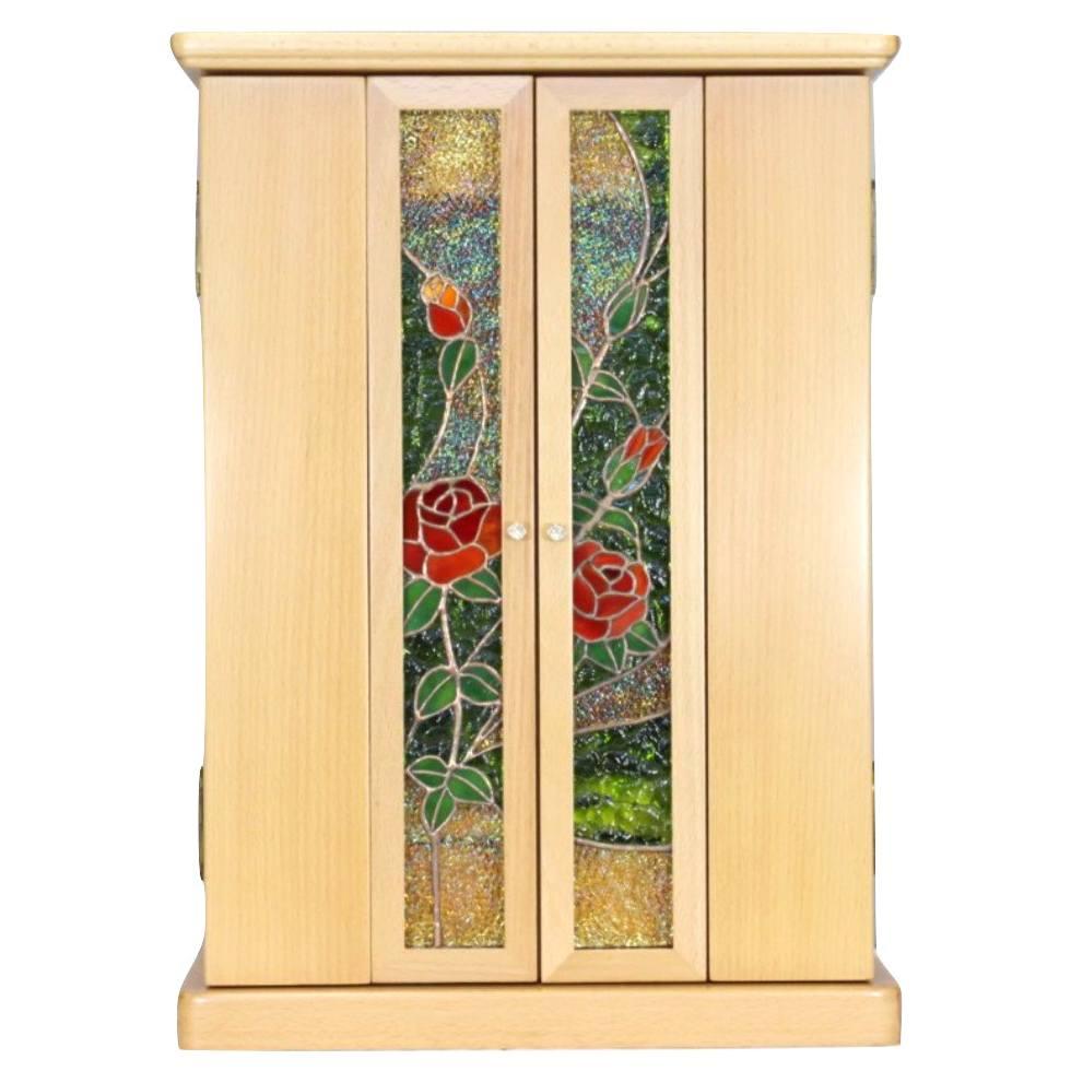 ステンドグラス仏壇 クリムゾン 18号 バラのステンドグラス 仏具セット付き