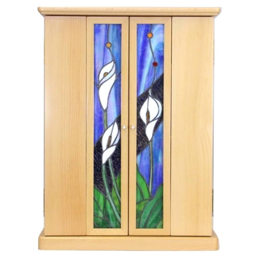 「ステンドグラス仏壇 カラー 20号 白ケヤキ」仏具6点セット付き コンパクト仏壇